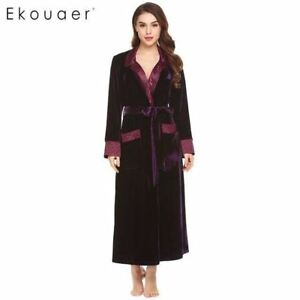 43088c92b1 Details about Women Dressing Gowns Long Sleeve Bathrobe Pocket Velvet  Kimono Sleepwear