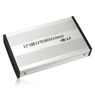 3.5 inch Silver USB 2.0 SATA External HDD HD Hard Drive Enclosure Case Box #Cu3