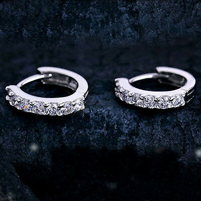 Lovely Lady's Jewelry White Gemstones Crystal Silver Plated Hoop Earrings