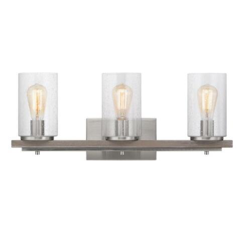 Progress Lighting Boswell Quarter 8 in 3-Light Brushed Nickel Vanity Light
