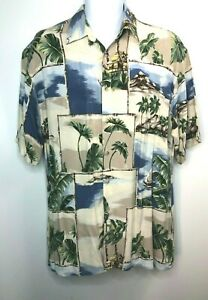 Campia-Men-039-s-Hawaiian-Shirt-Island-Tiki-Palm-Tree-Short-Sleeve-Blue-Green-Size-L