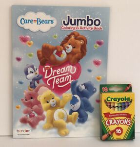 New-Care-Bears-Dream-Team-Jumbo-Coloring-amp-Activity-Book-Crayons-2-Piece-Set