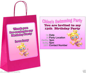 Details About Packs Of Personalised Girls Swimming Birthday Party Invites Invitation Cards