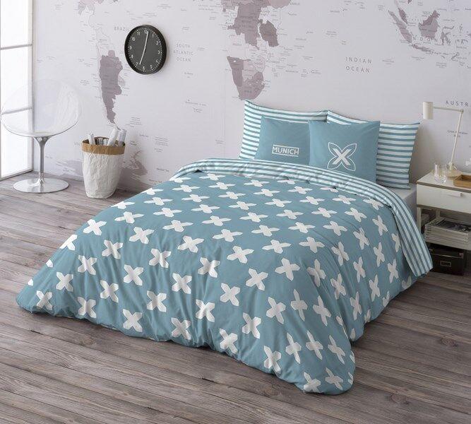 Munich Funda nórdica cama Evo Blau + funda almohada 100% algodón  Duvet cover