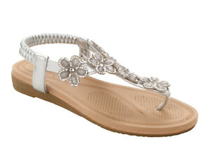 0b9738ca5612ee WOMENS SILVER GEM DIAMANTE TOE POST SUMMER BEACH EVENING SANDALS ...