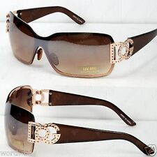 New DG Womens Sunglasses Shades Fashion Designer Gold Brown Shield Retro Wrap