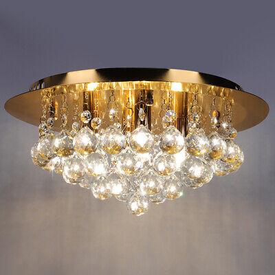 Crystal Droplets Chandelier Flush Mount Ceiling Light Round 35cm Chrome Mirror base 3 G9 LED bulbs