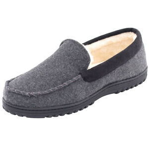 Men-039-s-Comfy-Wool-Micro-Suede-Fleece-Lined-Moccasin-Slippers-Shoes