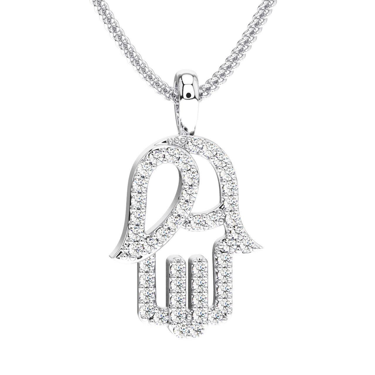0.25 Carat Round Brilliant Cut Diamonds Hamsa Evil Hand Pendant In 18K gold