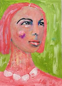 Classy-Woman-Wearing-Pearls-Portrait-Painting-Pink-Hair-Katie-Jeanne-Wood