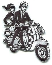 SKA rude boy/girl on scooter EMBROIDERED IRON-ON PATCH Free Shipping vespa p3869
