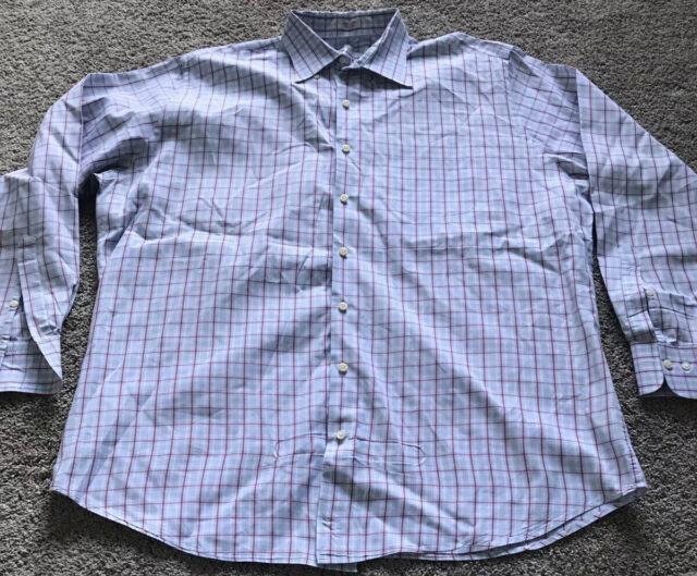 Peter Millar Mens Shirt Blue White Red Check Long Sleeve Button up sz XL VGC