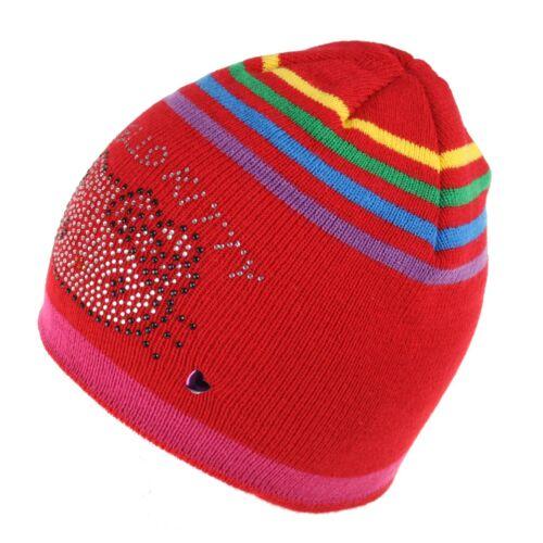 Official Hello Kitty Kitty Stripe Girls Winter Beanie Hat Red