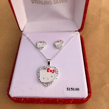 Sanrio Hello Kitty Crystal Heart Sterling Silver Necklace & Earring Set w/ Case