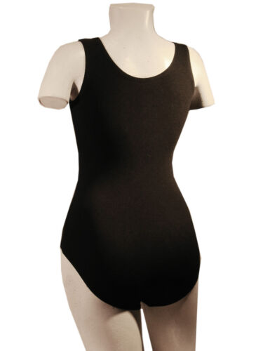 Black Tank Leotard Plus Size 1X 2X 3X Cotton Dance Adult  NEW #5000A