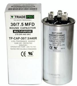 30//7.5 mfd 44 Volt Round Capacitor Hvac Central Air Motor Compressor A//C 370 New