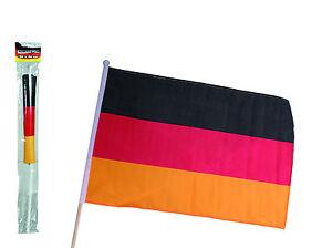 fahne flagge stabfahne deutschland wm 60 x 90cm 112cm schwarz rot gold polyester ebay. Black Bedroom Furniture Sets. Home Design Ideas
