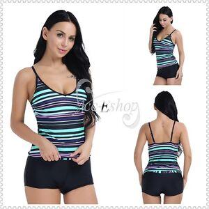 32f6082fdb M-3XL Women Striped Sport Swimwear Set Beach Bathing Suit Tankini ...