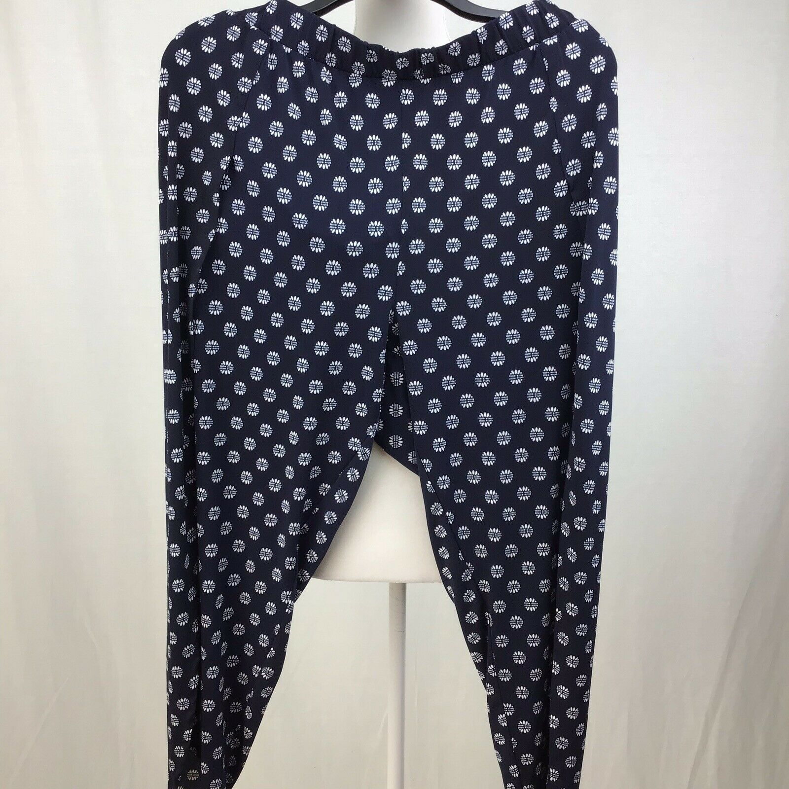 1.STATE Printed Envelope-Hem Pants Gypsy Night Navy  XL C0086