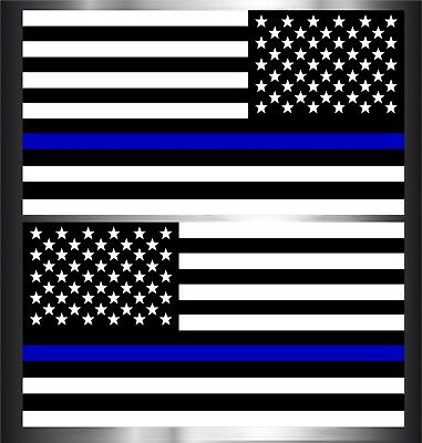 Thin Blue Line American Flag Mirrored Decal Sticker Patriot 2 Pack