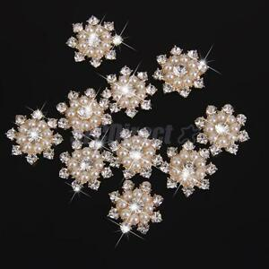 10-Clear-Rhinestone-Crystal-Pearl-Flower-DIY-Embellishment-Flatback-Buttons