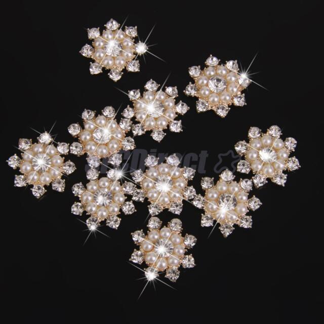 10 Clear Rhinestone Crystal Pearl Flower DIY Embellishment Flatback Buttons