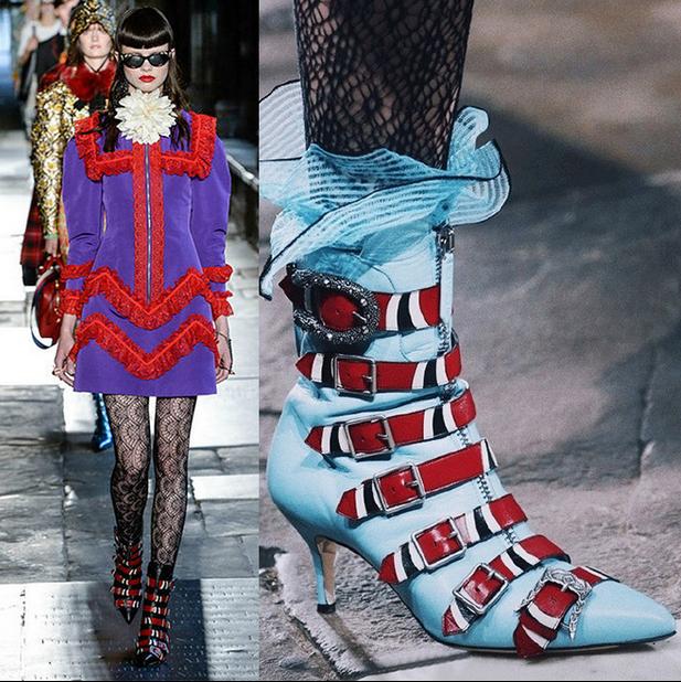 donna Embroidery Belt Buckle Stilettos High Heel Ankle stivali scarpe Pointed Toe