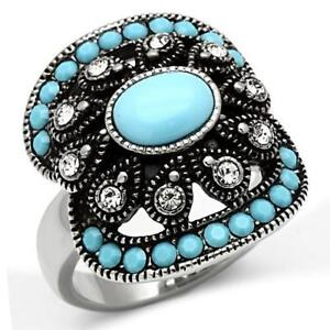 526-TURQUOISE-BLUE-SIMULATED-DIAMOND-RING-STAINLESS-STEEL-NO-TARNISH-TRIBAL