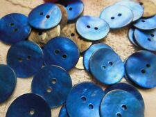 lot 12  boutons en nacre bleu lumineux diamètre: 1,8 cm
