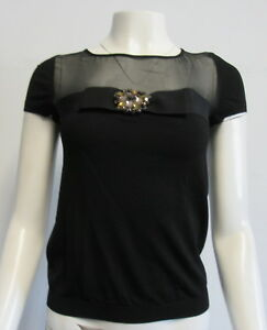VALENTINO-ROMA-black-short-sleeve-top-w-grosgrain-ribbon-and-brooch-detail-SZ-4