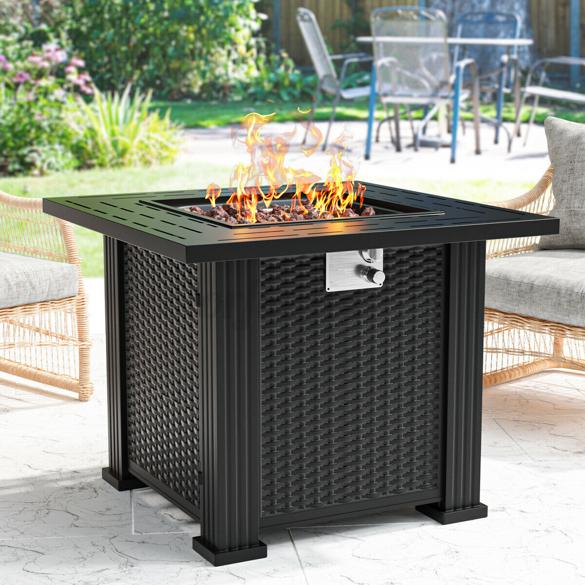Fire Pit Gas Firepit Patio Garden Burner Square Fireplace Outdoor Table W/ Cover