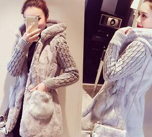 Outwear Fashion Fur Pieced Thicken Womens Korean Winter Coat Hooded Wool Blend AWAPvxn1