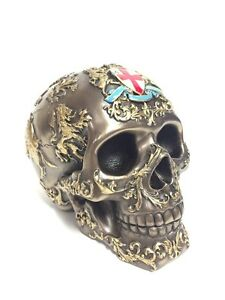 Patterned Skull Statue with Coat of Arms & St. George Cross - WE SHIP WORLDWIDE