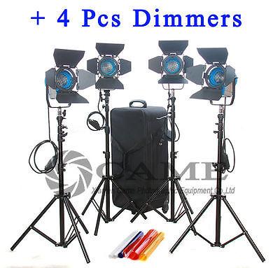 4pcs dimmers + 4pcs 300W Fresnel Tungsten Video Continuous Light Spot Lighting