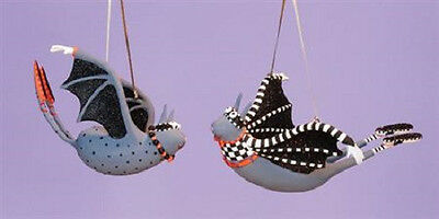 Patience Brewster I AM BAT MAN & BAT WOMAN Set of 2 ornaments Krinkles CUTE! NEW