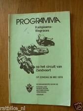 1974 ZANDVOORT KAMPIOENSRACES 26 MEI PROGRAMME. RENNPROGRAMME HAR37,BRUINS,KOERH