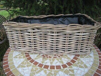 Korb Kubu Pflanzkorb mit Folie Weide grau rechteckig  D 40 x 23 cm Kasten Blumen