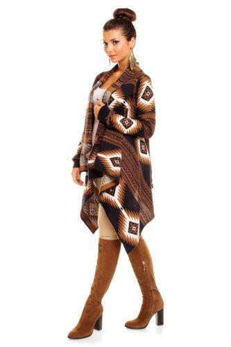 DAMEN Langarm CARDIGAN Mantel Jacke Pullover 36 38 40 NeU 65/% Acrylic 35/% Wolle