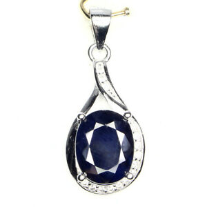 Sublime Oval Cut Top Deep Blue Sapphire Diffusion Cz 925 Sterling Silver Pendant - Ellesmere Port, United Kingdom - Sublime Oval Cut Top Deep Blue Sapphire Diffusion Cz 925 Sterling Silver Pendant - Ellesmere Port, United Kingdom