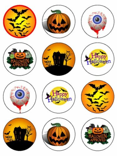 "12 x Halloween Mix 2/"" PRE-CUT PREMIUM RICE PAPER Edible Cupcake Toppers"