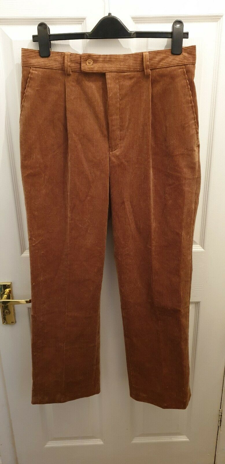 JAMES MEADE LIMITED MENS BROWN NAVY CORDUROY TROUSERS  W32 L31