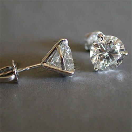 Wedding Engagement Three-Prong Earrings Zircon Round Diamond Martini 1ct Stud