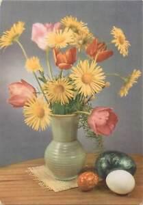 Greetings-bouquet-flowers-multi-color-vase-eggs-tulips-Postcard