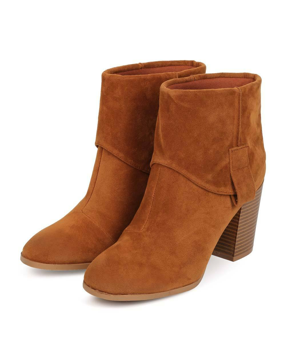 New Women Qupid Wagon-05 Suede Almond Toe Western Foldover Pull On Bootie Size