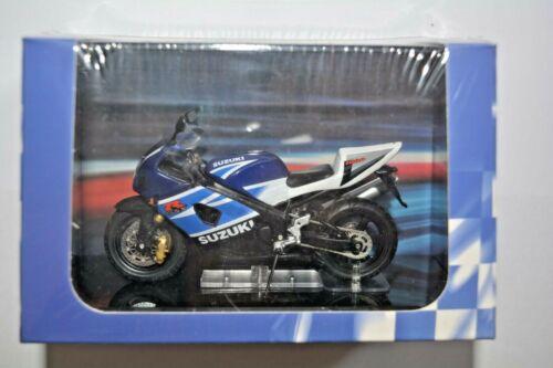 Atlas Collections modelo motocicleta Suzuki GSX-R 1000 blanco//azul//4110115 en zócalo