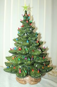 Details About Vintage Large 22 Tall Lighted Ceramic Christmas Tree With Brown Base