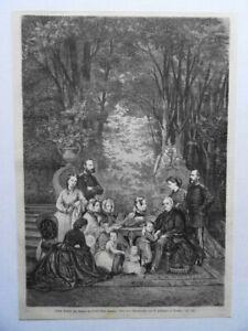 König Johann von Sachsen im Kreise seiner Familie. Holzstich von  1872