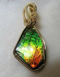 Multi-Colored-Canadian-Ammolite-Gemstone-Pendant-Slide-Handcrafted-in-14K-GF
