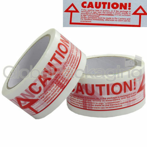 6 Rolls Of CAUTION Printed Sealing Packing Tape 48x66m