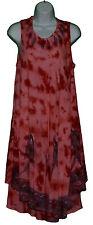 NEW Spot Gauzy Red Sundress Dress Plus Long Tunic Batik Lagenlook Jumper 1X 2X